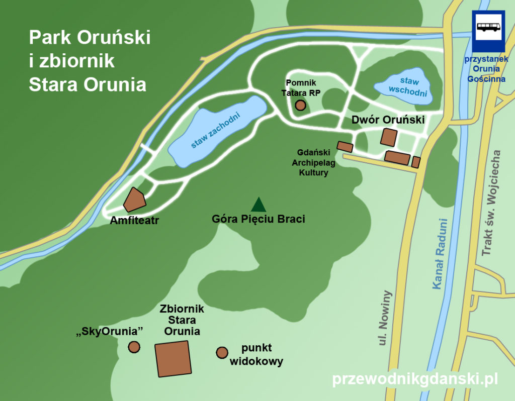Park Oruński w Gdańsku, mapa
